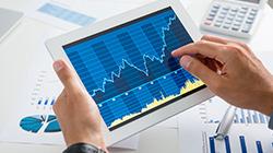 iPad mit Datenansicht Liniendiagramm