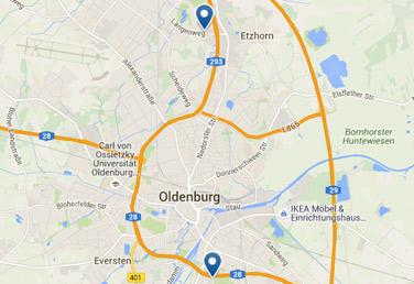 EWE Netz Regionen Karte