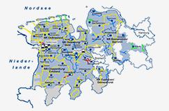 Karte Erdgasnetzgebiet Ems-Weser-Elbe EWE NETZ