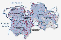 Karte Stromnetz mit Umspannwerken
